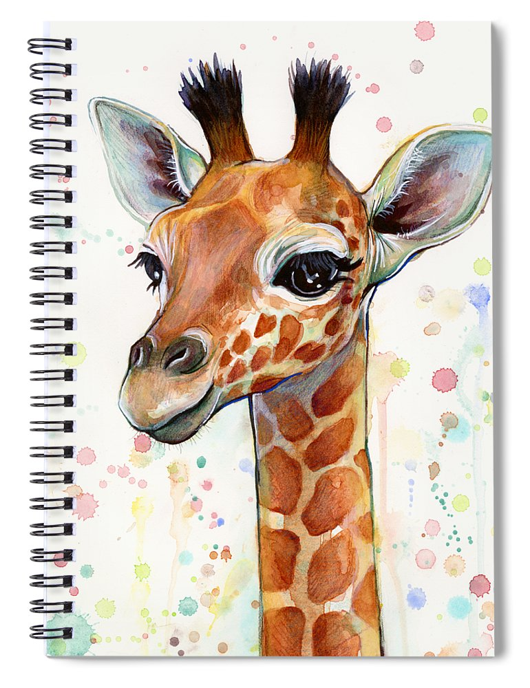 Watercolor Spiral Notebook featuring the painting Baby Giraffe Watercolor by Olga Shvartsur
