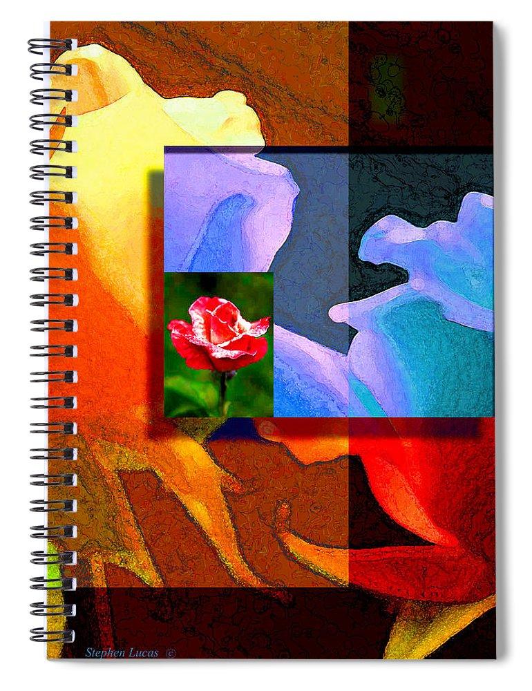 Modern Spiral Notebook featuring the digital art Backlit Roses by Stephen Lucas