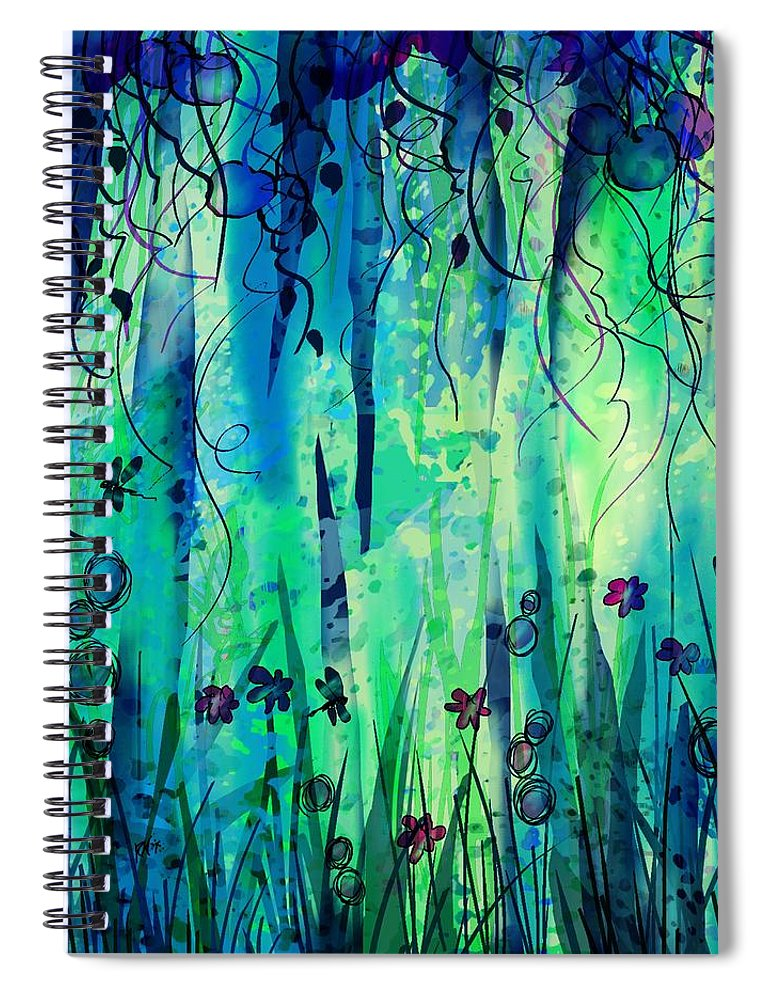 Abstract Spiral Notebook featuring the digital art Backyard Dreamer by William Russell Nowicki