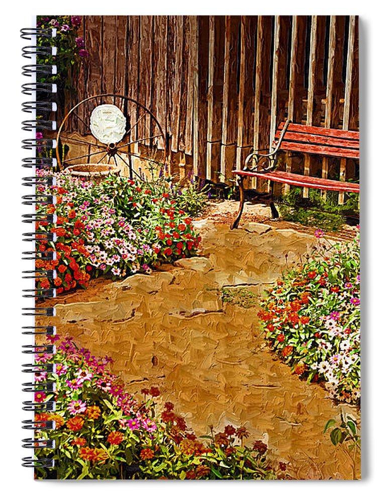 Pink Flower Spiral Notebook featuring the digital art Backyard Garden by Paul Bartoszek