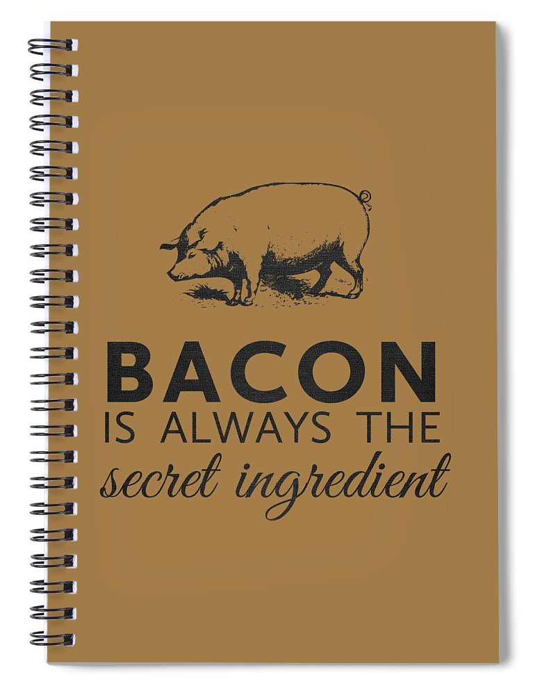 Bacon Spiral Notebook featuring the digital art Bacon is Always the Secret Ingredient by Nancy Ingersoll