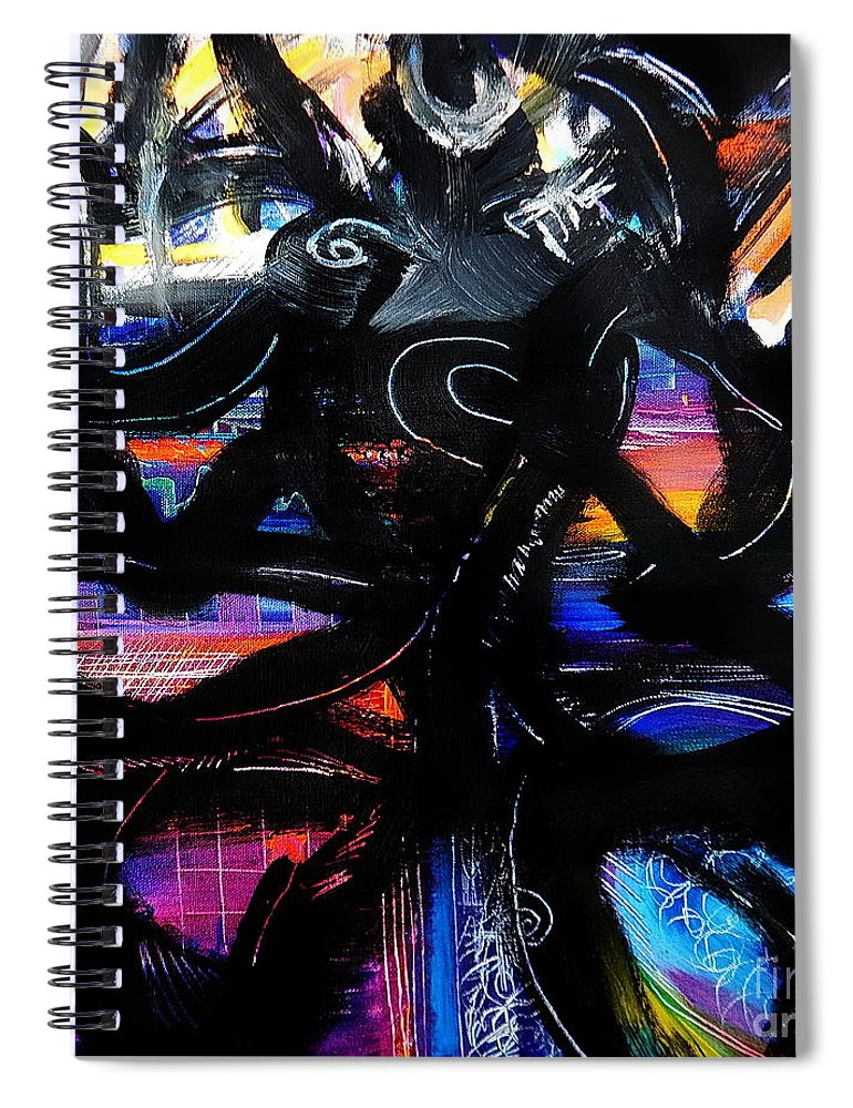 Original Painting On Canvas .abstract Spiral Notebook featuring the painting Badass Black by Priscilla Batzell Expressionist Art Studio Gallery
