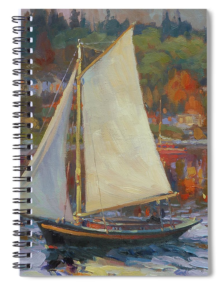 Sailboat Spiral Notebook featuring the painting Bainbridge Island Sail by Steve Henderson