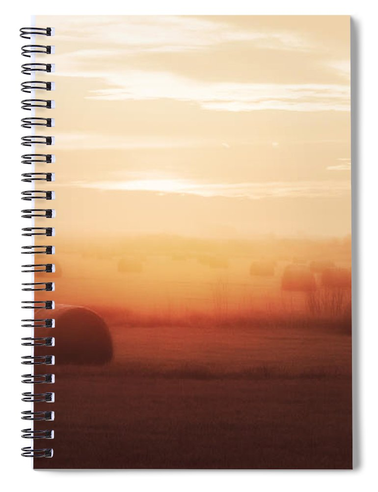 Round Bales Spiral Notebook featuring the photograph Bales In The Mist by Todd Klassy