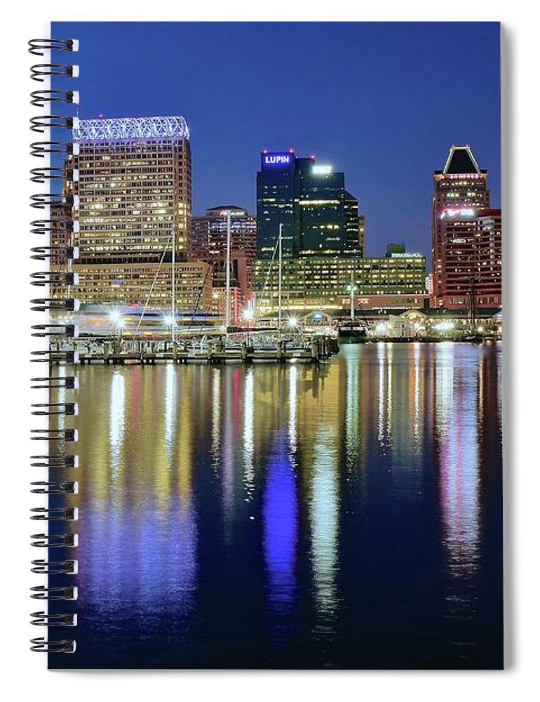 Baltimore Spiral Notebook featuring the photograph Baltimore Blue Hour by Frozen in Time Fine Art Photography