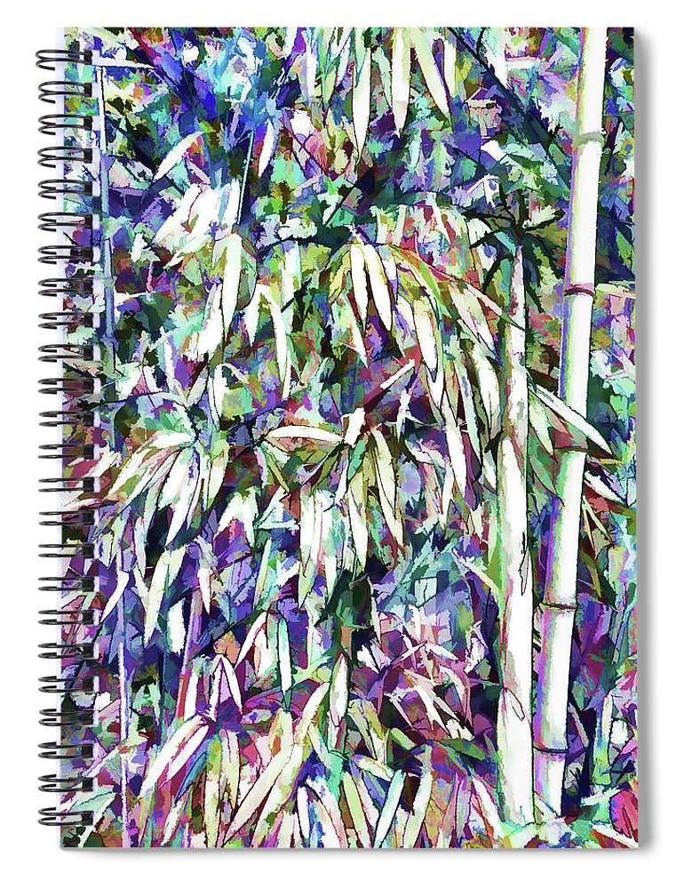 Bamboo Forest Background Spiral Notebook featuring the painting Bamboo Forest Background by Jeelan Clark