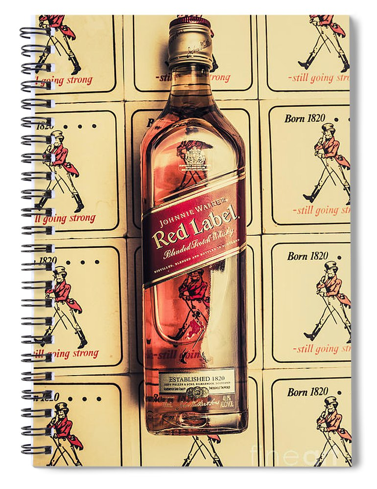 Johnnie Spiral Notebook featuring the photograph Bar Wall Art. Old Johnnie Walker Red Label by Jorgo Photography - Wall Art Gallery