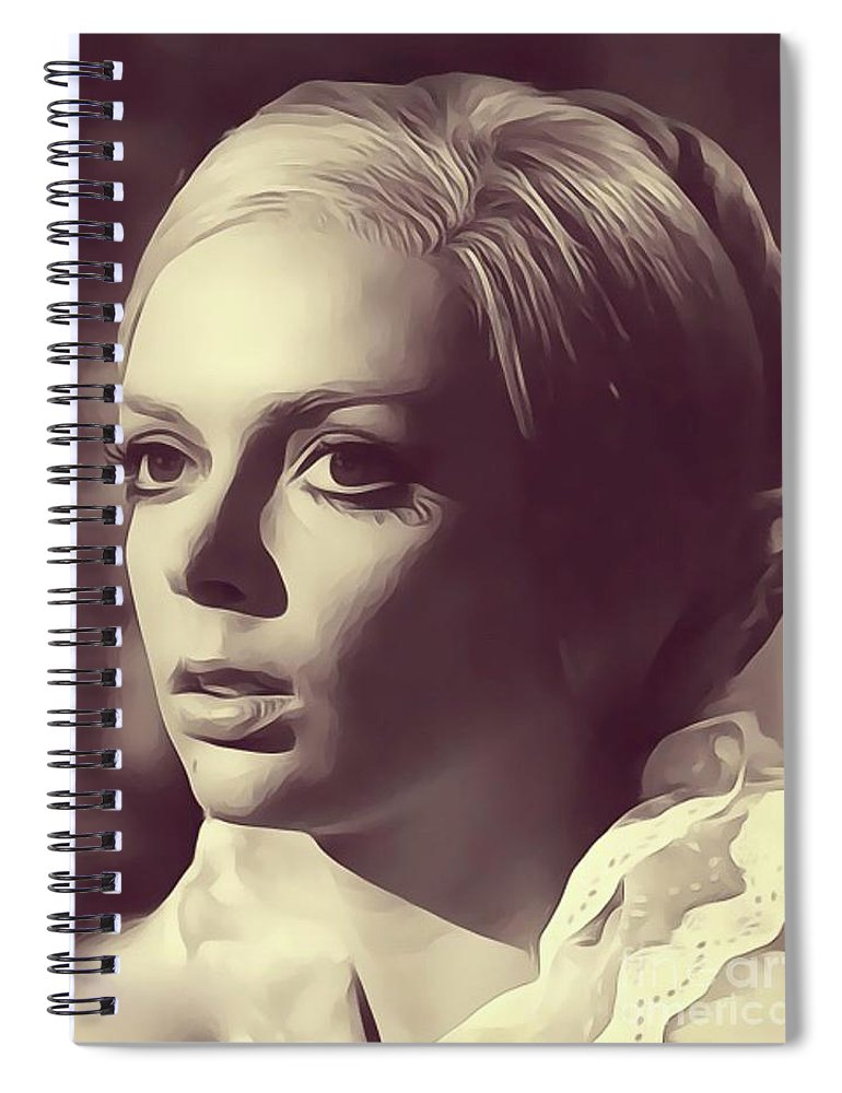 Barbara Spiral Notebook featuring the digital art Barbara Steele, Vintage Actress by Esoterica Art Agency
