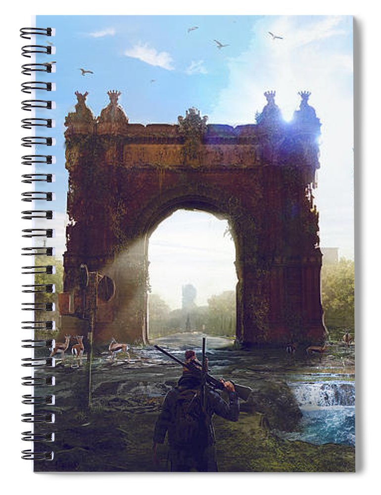 Sciencie Fiction Spiral Notebook featuring the painting Barcelona Aftermath Arc De Triomf by Guillem H Pongiluppi