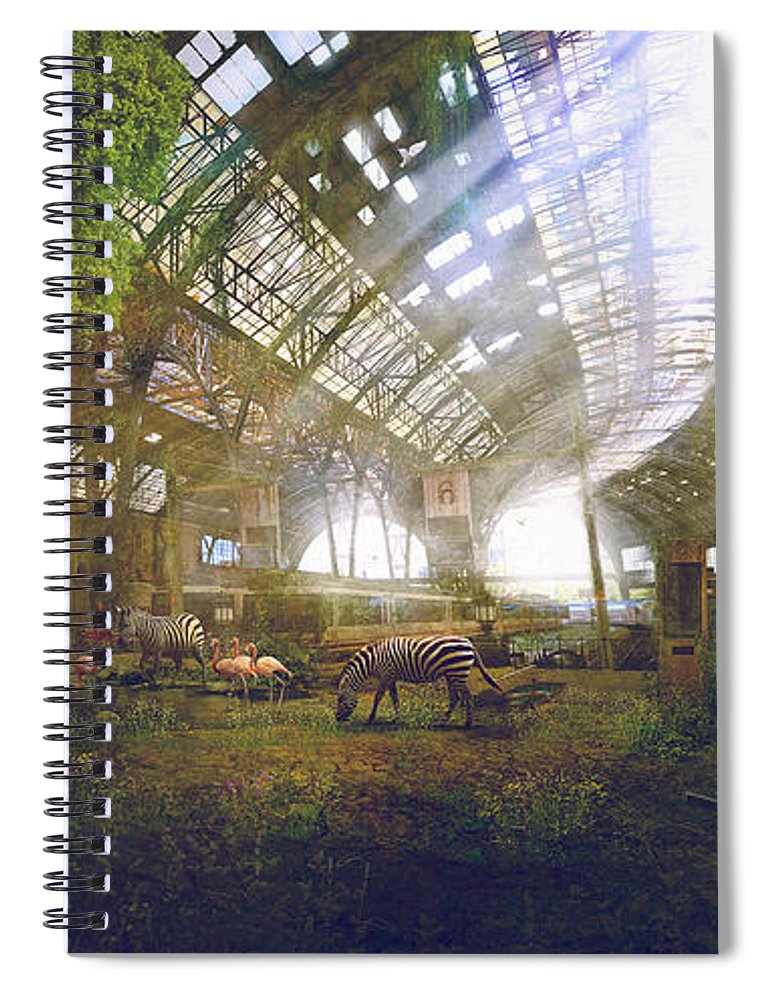 Sciencie Fiction Spiral Notebook featuring the painting Barcelona Aftermath Estacio De Franca by Guillem H Pongiluppi