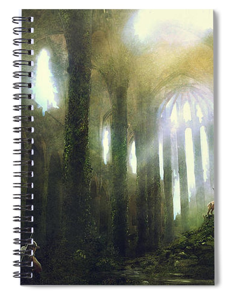 Sciencie Fiction Spiral Notebook featuring the painting Barcelona Aftermath Santa Maria Del Mar by Guillem H Pongiluppi