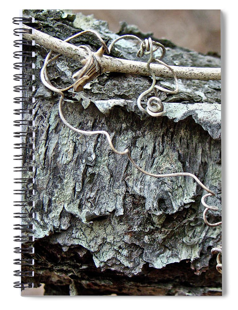 Tree Spiral Notebook featuring the photograph Bark - Lichen - Cat Brier Tendrils by Mother Nature