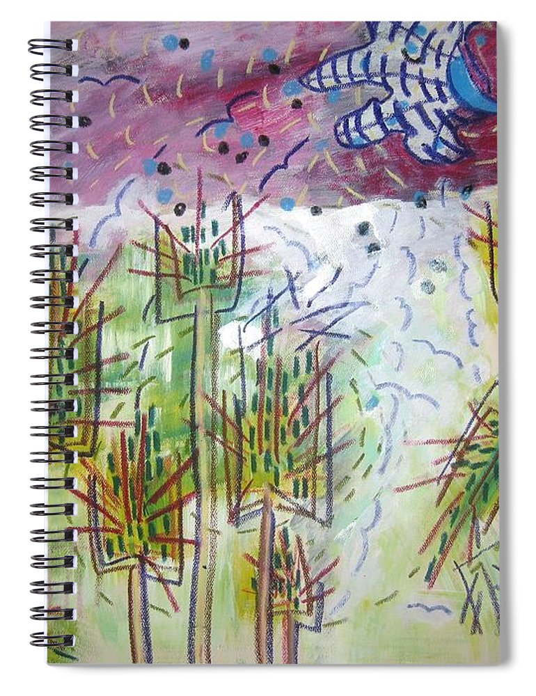 Barly Paintings Spiral Notebook featuring the painting Barly And The Blue Moon by Seon-Jeong Kim