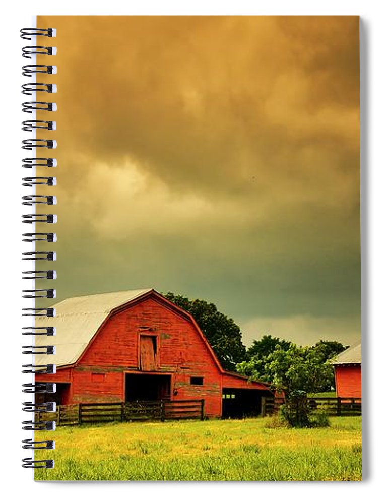Red Spiral Notebook featuring the photograph Barn in the USA, South Carolina by Zayne Diamond Photographic