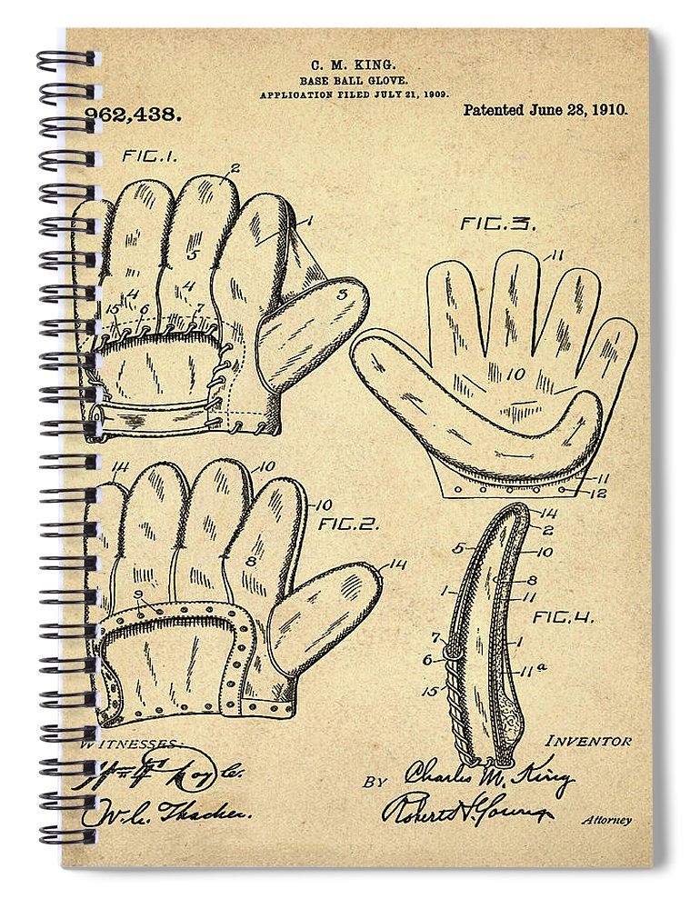 Baseball Spiral Notebook featuring the photograph Baseball Glove Patent 1910 Sepia by Bill Cannon