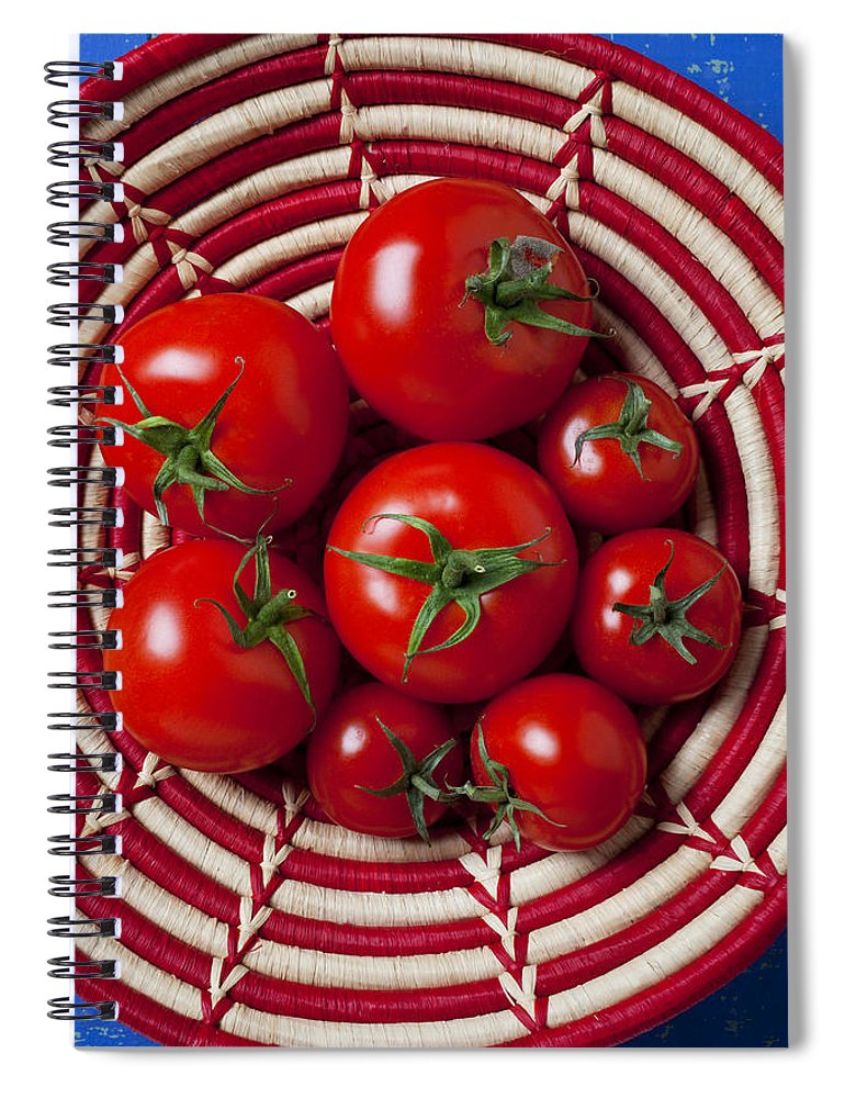 Tomato Spiral Notebook featuring the photograph Basket Full Of Red Tomatoes by Garry Gay