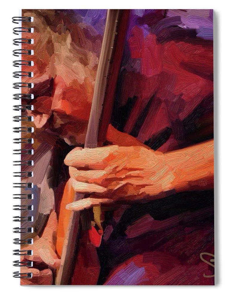 Bass Player Spiral Notebook featuring the digital art Bass Player by Scott Waters