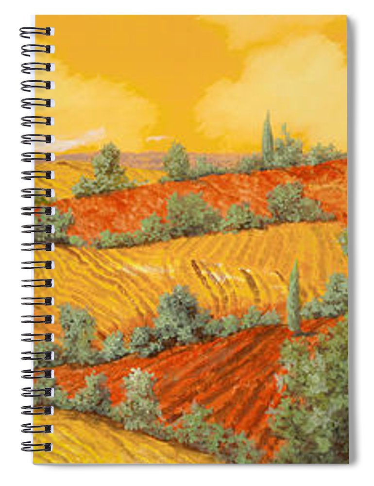 Tuscany Spiral Notebook featuring the painting Maremma Toscana by Guido Borelli