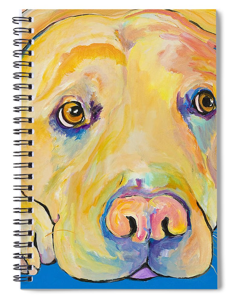 Dog Paintings Yellow Lab Puppy Colorful Animals Pets Spiral Notebook featuring the painting Bath Time by Pat Saunders-White
