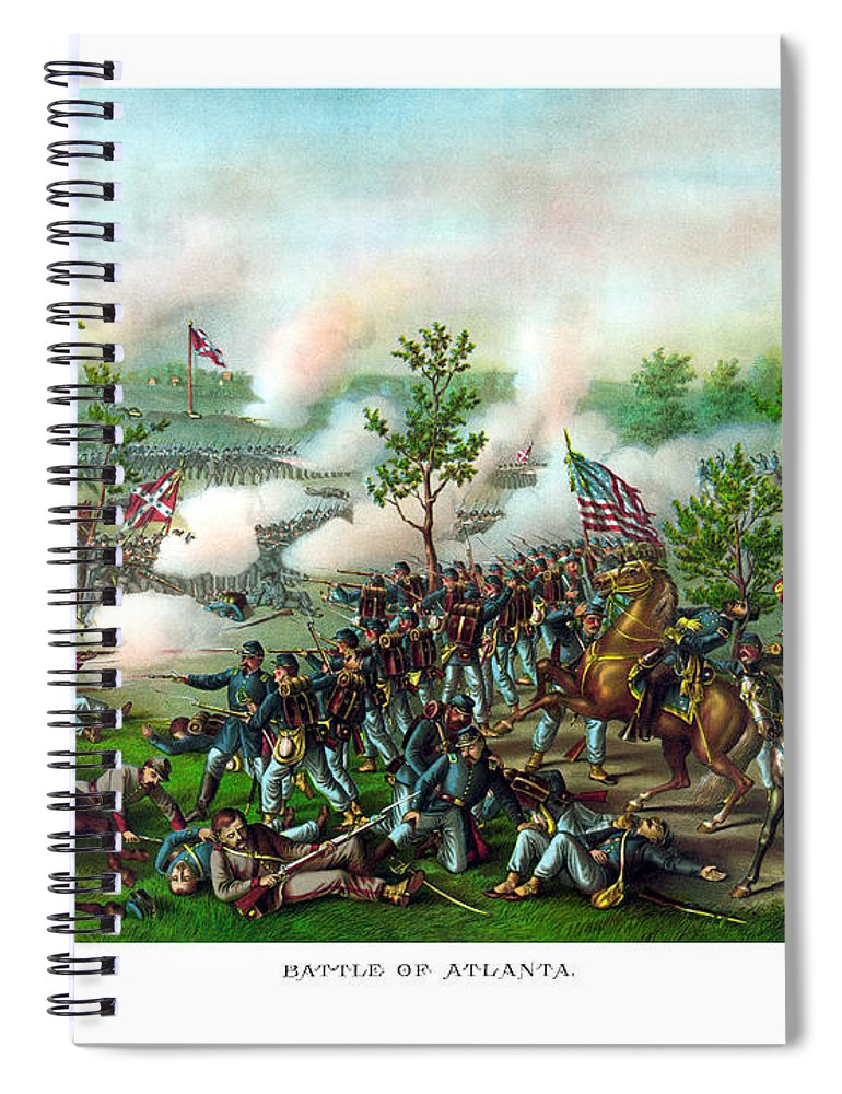 Battle Of Atlanta Spiral Notebook featuring the painting Battle Of Atlanta by War Is Hell Store
