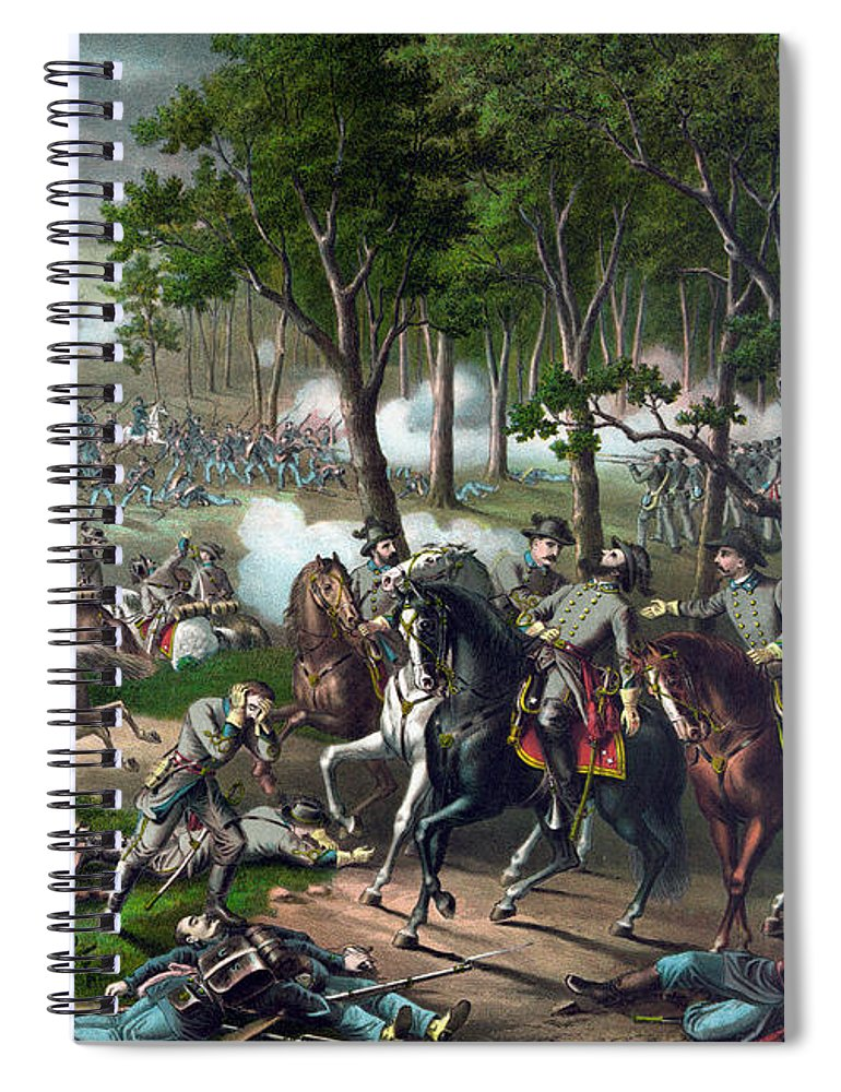 Civil War Spiral Notebook featuring the painting Battle Of Chancellorsville - Death Of Stonewall by War Is Hell Store