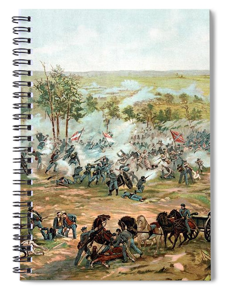 Gettysburg Spiral Notebook featuring the painting Battle Of Gettysburg by War Is Hell Store