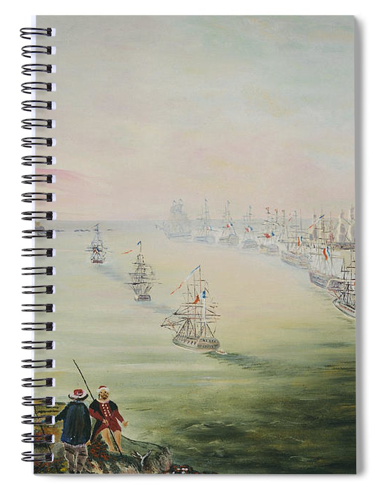 Sea Battle Spiral Notebook featuring the painting Battle Of The Nile by Richard Barham