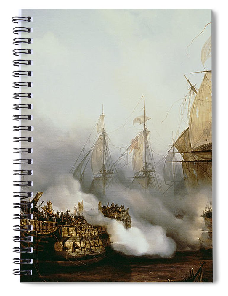 Battle Of Trafalgar By Louis Philippe Crepin Spiral Notebook featuring the painting Battle of Trafalgar by Louis Philippe Crepin