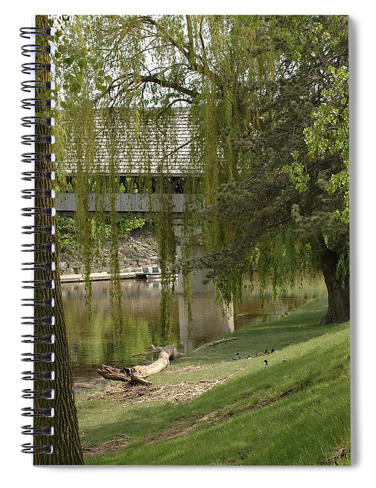 Usa Spiral Notebook featuring the photograph Bavarian Covered Bridge Over The Cass River Frankenmuthmichigan by LeeAnn McLaneGoetz McLaneGoetzStudioLLCcom