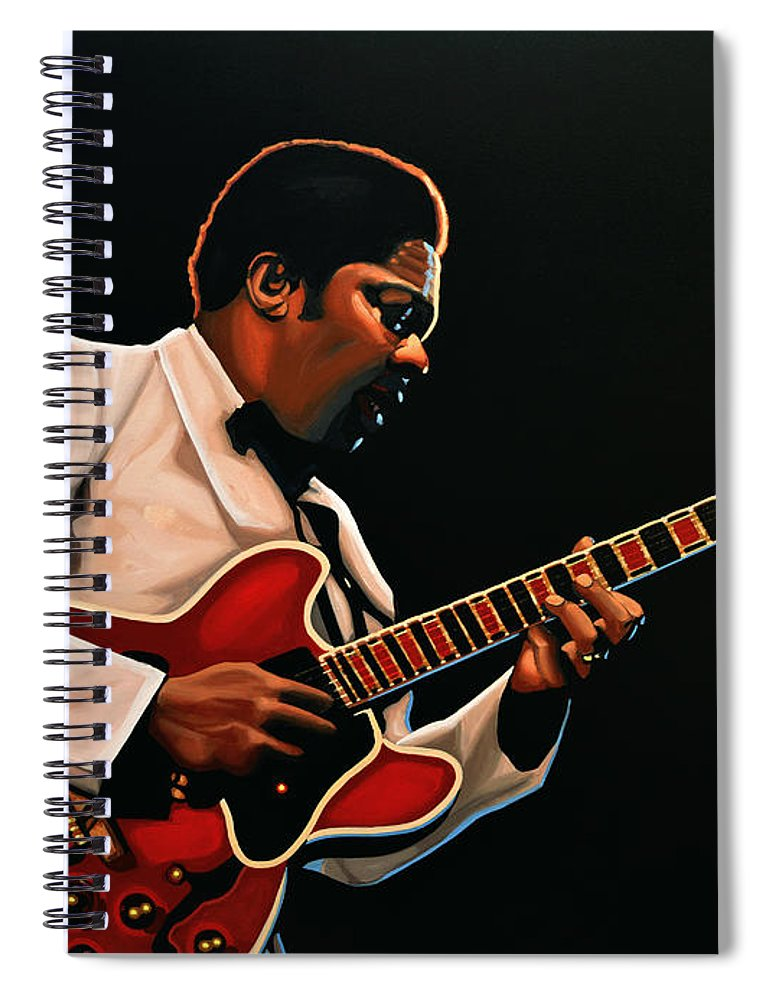 Bb King Spiral Notebook featuring the painting B. B. King by Paul Meijering
