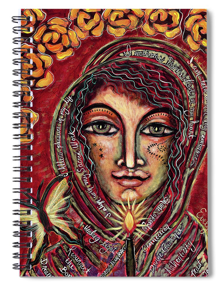Intentional Creativity Spiral Notebook featuring the painting Be Kind by Evelyne Verret