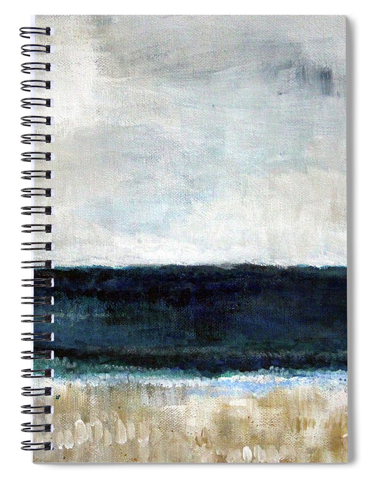 Beach Spiral Notebook featuring the painting Beach- Abstract Painting by Linda Woods