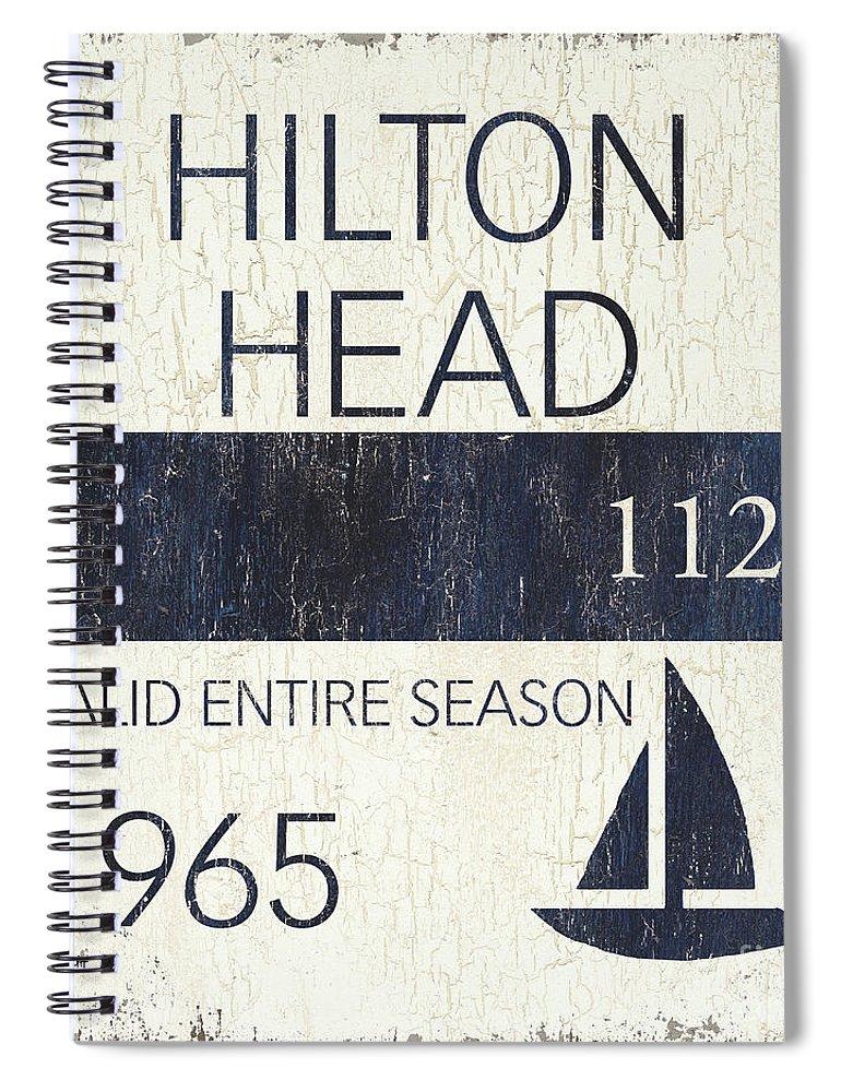 Hilton Head Spiral Notebook featuring the painting Beach Badge Hilton Head by Debbie DeWitt