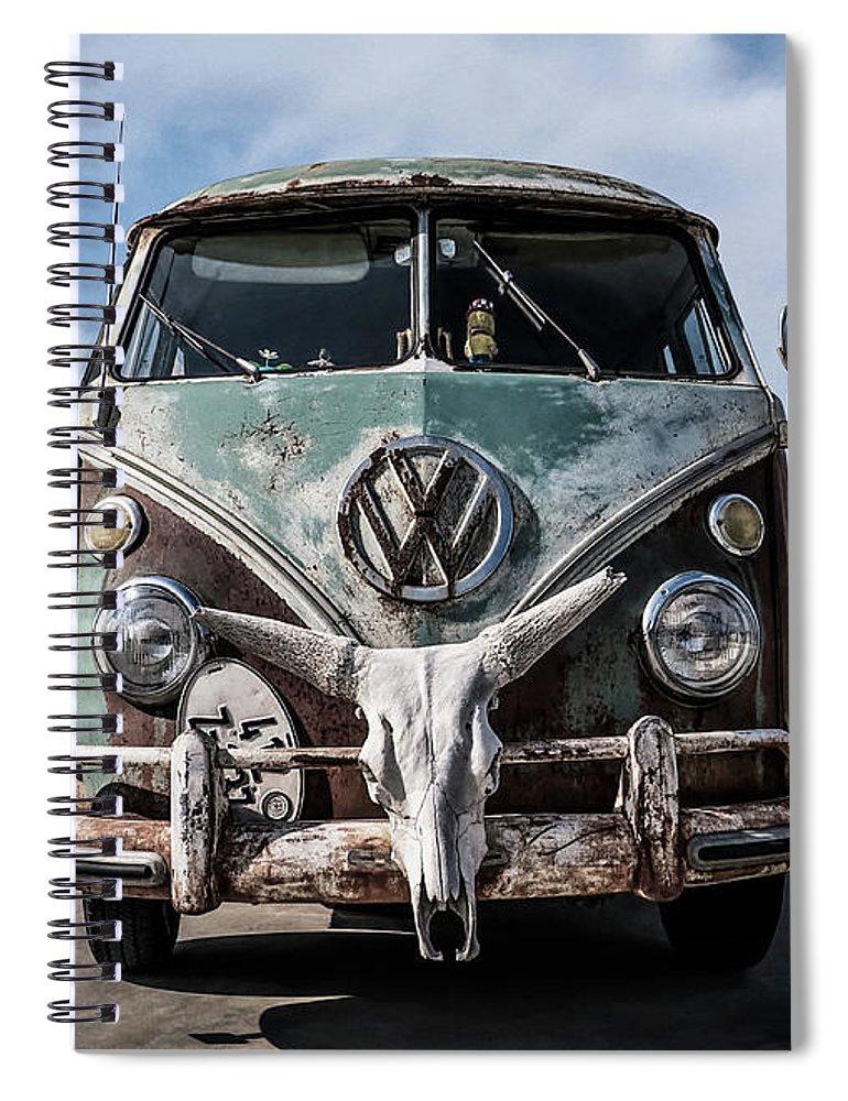 Volkswagen Spiral Notebook featuring the digital art Beach Bum by Douglas Pittman