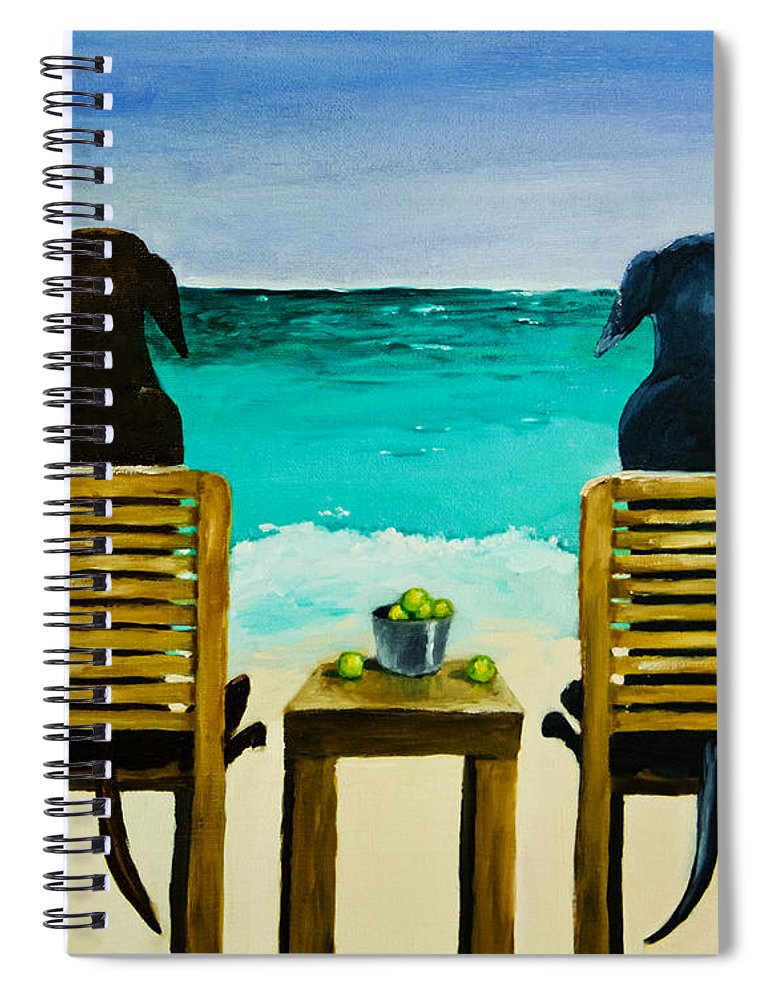 Labrador Retriever Spiral Notebook featuring the painting Beach Bums by Roger Wedegis