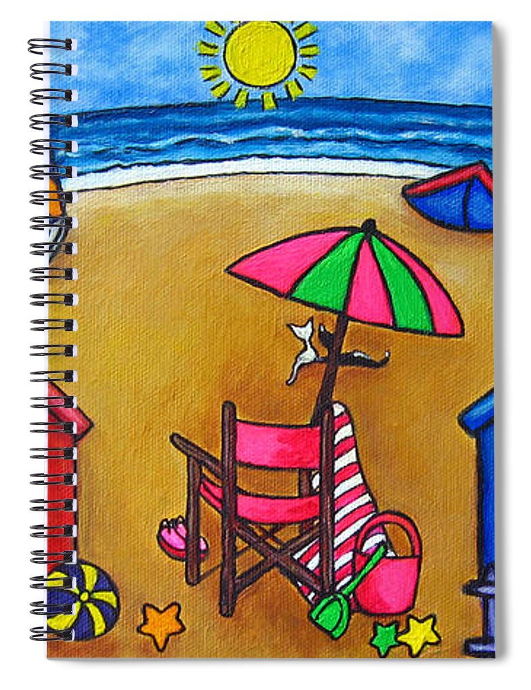 Beach Spiral Notebook featuring the painting Beach Colours by Lisa Lorenz
