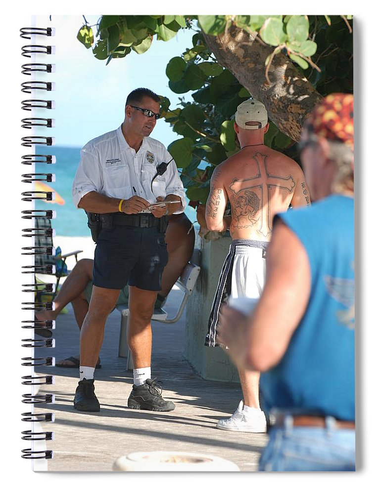 Cops Spiral Notebook featuring the photograph Beach Cops And Christ by Rob Hans