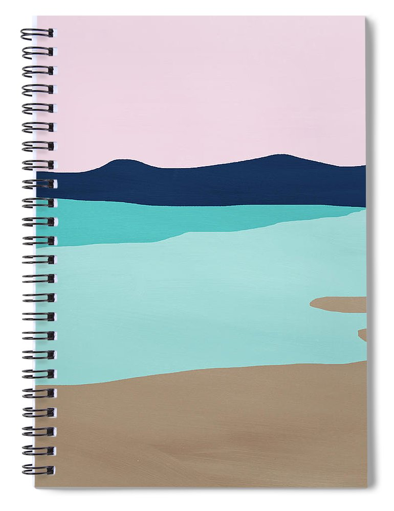 Beach Spiral Notebook featuring the mixed media Beach Cove- Art by Linda Woods by Linda Woods