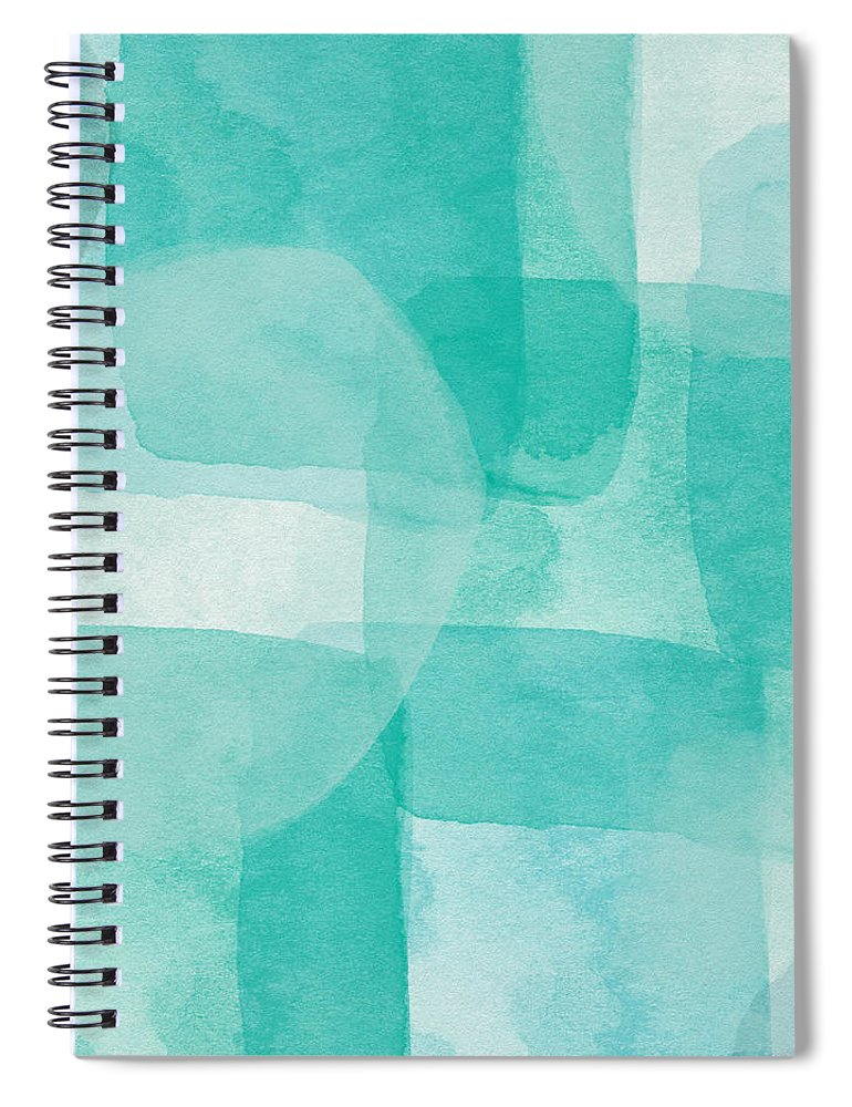 Abstract Spiral Notebook featuring the painting Beach Glass- Abstract Art by Linda Woods by Linda Woods