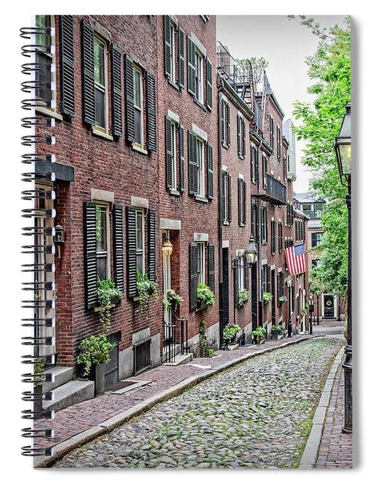Acorn Spiral Notebook featuring the photograph Beacon Hill - Acorn Street by Charles Dobbs