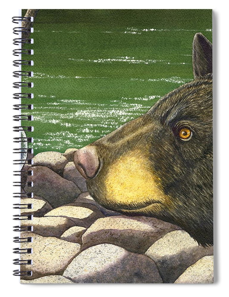 Black Bear Spiral Notebook featuring the painting Bear bubble by Catherine G McElroy