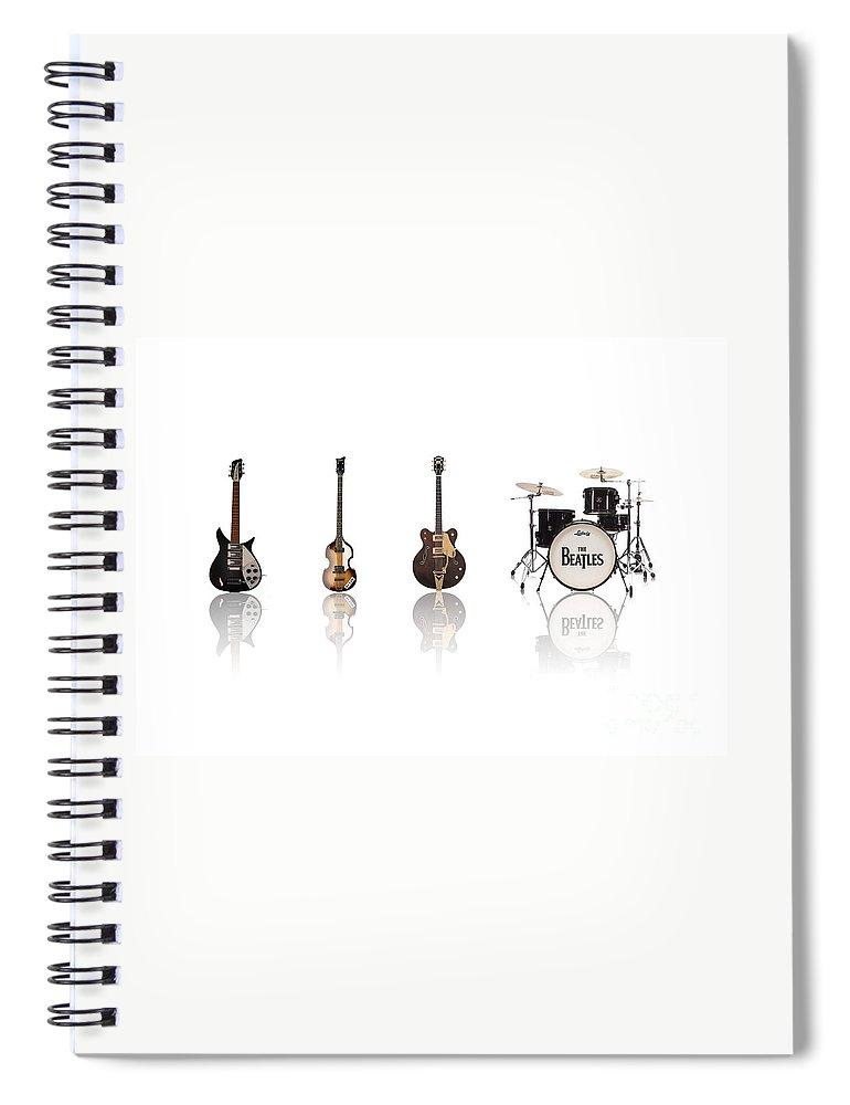 The Beatles Spiral Notebook featuring the digital art Beat of Beatles by Deer Devil Designs