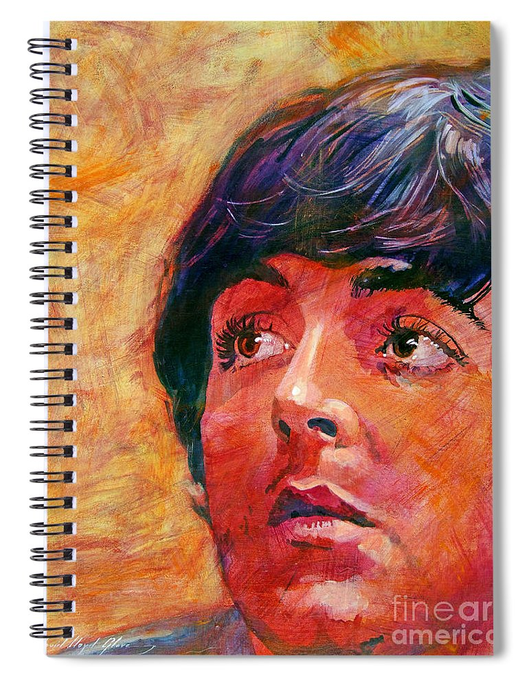 Paul Mccartney Spiral Notebook featuring the painting Beatle Paul by David Lloyd Glover
