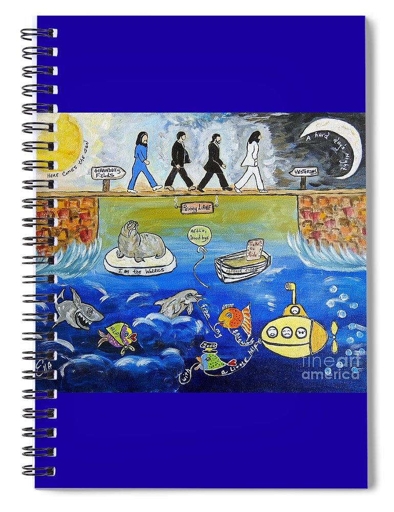 The Beatles Spiral Notebook featuring the painting Beatles Song Titles Original Painting Characterization by Ella Kaye Dickey