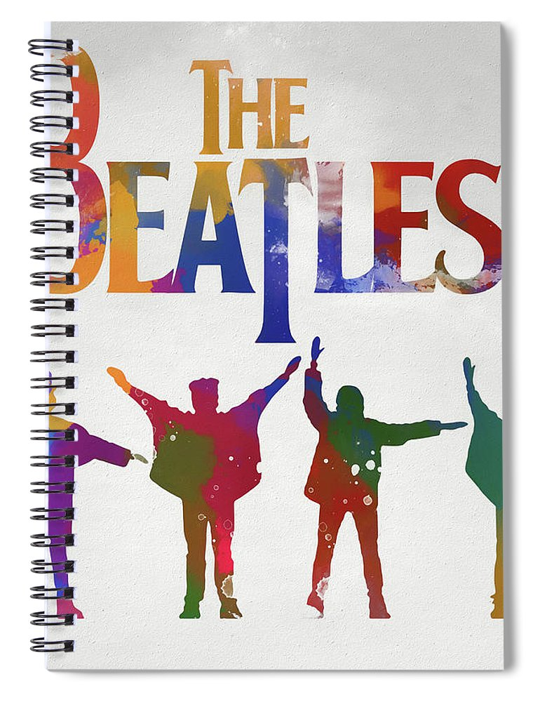 Beatles Watercolor Poster Spiral Notebook featuring the painting Beatles Watercolor Poster by Dan Sproul