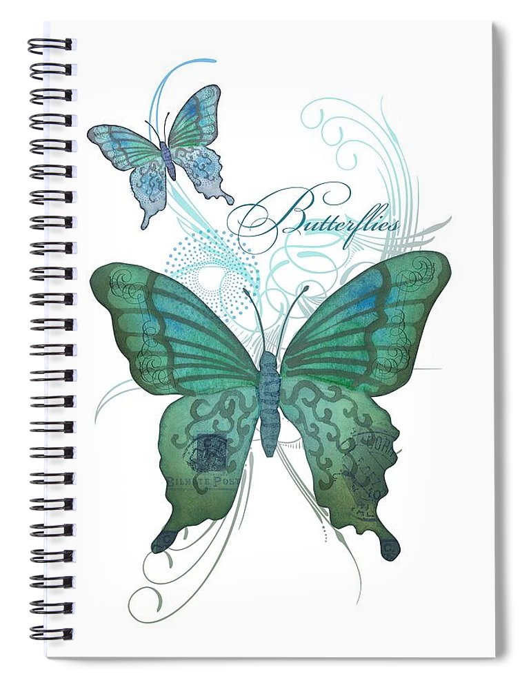 Butterfly Spiral Notebook featuring the painting Beautiful Butterflies N Swirls Modern Style by Audrey Jeanne Roberts
