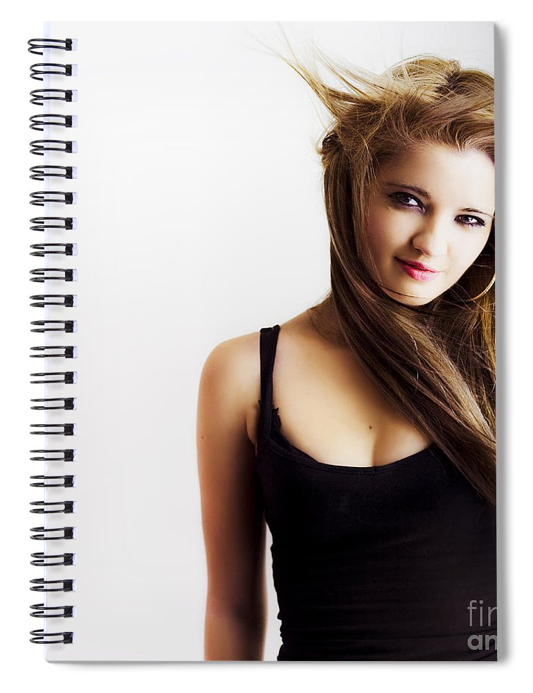 Adult Spiral Notebook featuring the photograph Beautiful Young Girl With Windswept Hair by Jorgo Photography - Wall Art Gallery