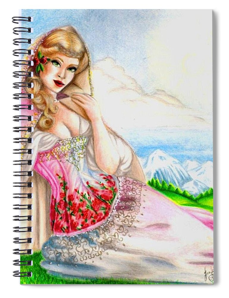 Figure Spiral Notebook featuring the drawing Beauty of the View by Scarlett Royal