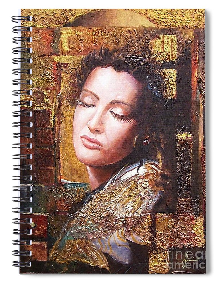 Female Portrait Spiral Notebook featuring the painting Because You Are Beautiful by Sinisa Saratlic