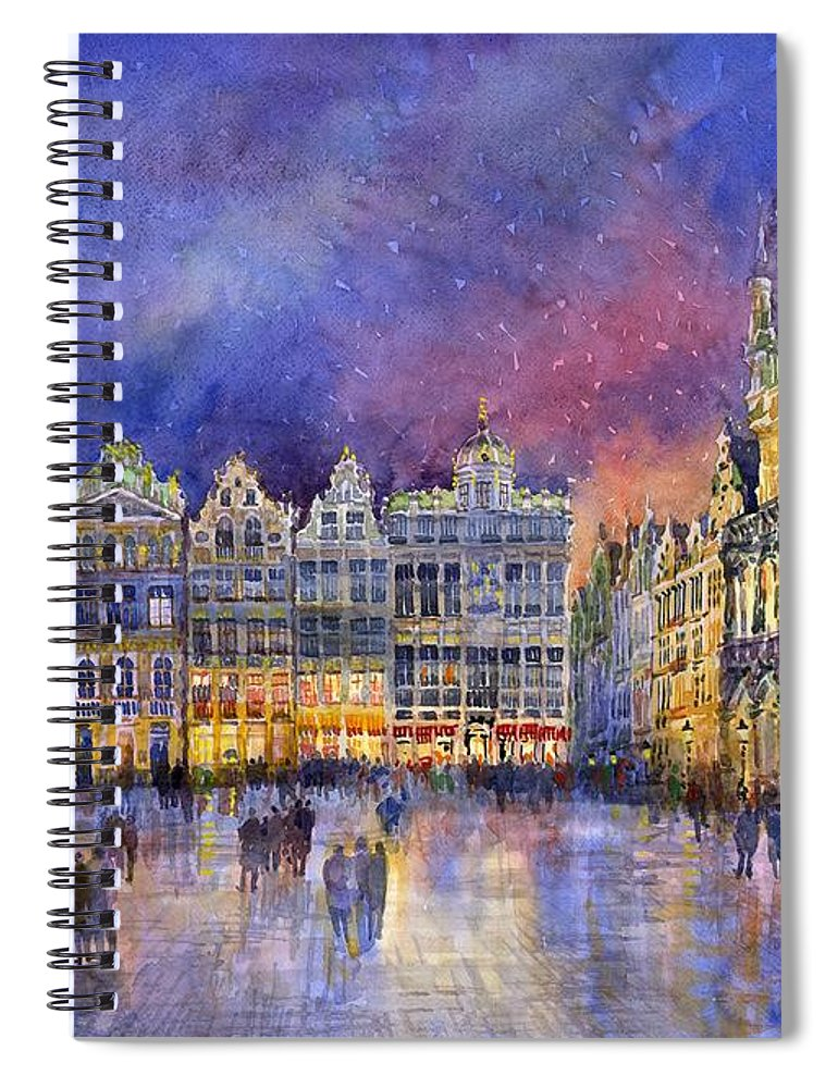 Watercolour Spiral Notebook featuring the painting Belgium Brussel Grand Place Grote Markt by Yuriy Shevchuk